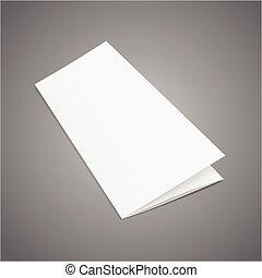 Blank Folded Leaflet White Paper Template. Vector