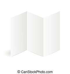 Blank Folded Leaflet White Paper Template. Vector