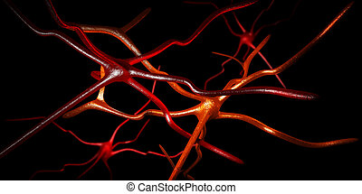 Computer artwork of nerve cells - 3d Illustration of...