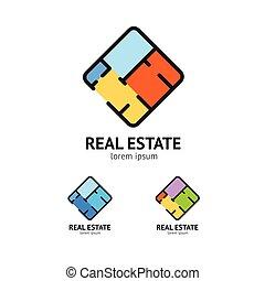 Sign Real Estate Set. Plan Floor. Vector - Sign Real Estate...