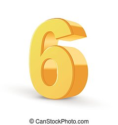 3d shiny yellow number 6 - 3D image shiny yellow number 6...