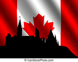 Canadian parliament with flag - Canadian parliament Ottawa...