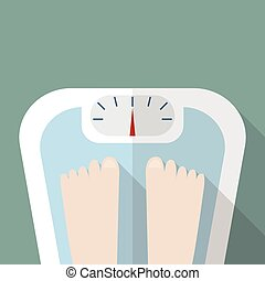 Bare feet on weight scale. Vector illustration