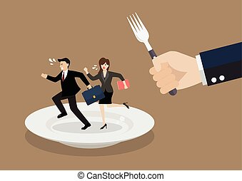 Business people run away from big hungry man. Business...