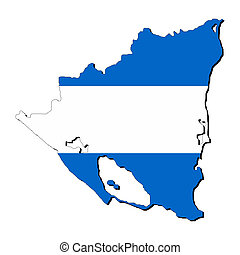 Nicaragua map flag with shadow on white illustration