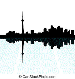 Toronto skyline with perspective text outline foreground