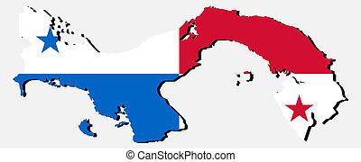 Panamá, mapa, bandera, sombra, Ilustración