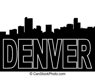 Denver skyline black silhouette on white