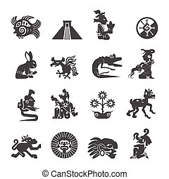 Maya Symbols Flat Icons Set - Maya writing ancient script...