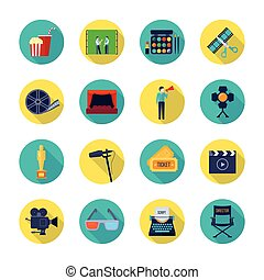 Filmaking Attributes Flat Round Icons Collection -...
