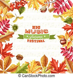 Fall Leaves Background - Big autumn music festival...