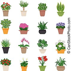 Houseplant Icons Set - Houseplant icons set with plants and...