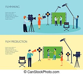 Filmmaking Process 2 Flat Horizontal Banners - Filmmaking...