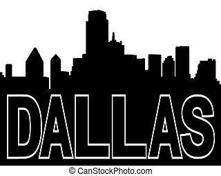 Dallas skyline black silhouette on white illustration