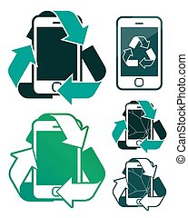 Vector of smartphones recycling with broken screen - Vector...