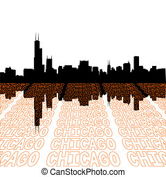 Chicago skyline with perspective text outline foreground