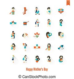 Happy Mothers Day Icons - Happy Mothers Day Simple Flat...