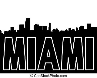 Miami skyline black silhouette on white