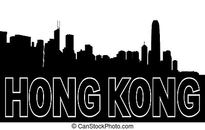 Hong Kong skyline black silhouette on white
