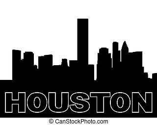Houston skyline black silhouette on white