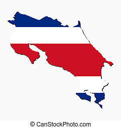 Costa Rica map flag - map of Costa Rica and their flag...