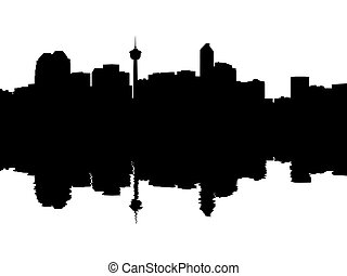 Calgary Skyline reflected
