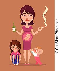 Bad pregnant drunk smoking mother