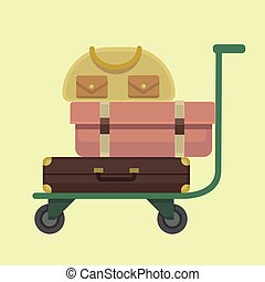 Trolley baggage icon