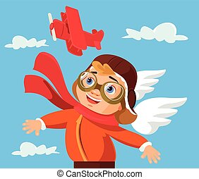 Boy character play with airplane toy Vector flat cartoon...