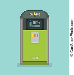 Charging station icon. Vector flat cartoon illustration