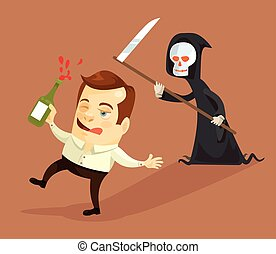 Drunk businessman and death characters. Vector flat cartoon...