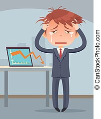 Business fail Graph down Crying business man character...