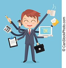 Happy office man character. Multitasking hard work. Vector...