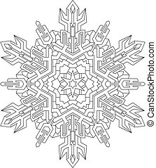 Outlines of snowflake in mono line style for coloring book....
