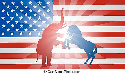 American Election Flag Concept - A donkey and elephant...