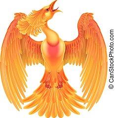 Phoenix Fire Bird - A phoenix fire bird rising with its...