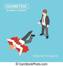 Isometric businessman is stabbed in the back by his colleague