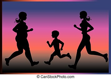 Silhouettes of people running
