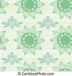 Om Design,lotus flower, seamless pattern, vector...
