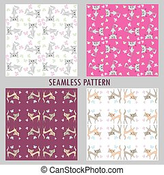 Set Cute funny seamless pattern with cats