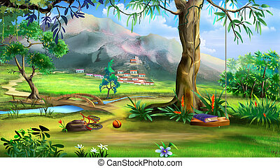 Fairy Tale Background with Swings