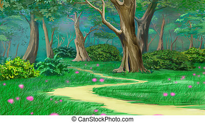 Footpath in a Fairy Tale Summer Forest. Digital Painting...