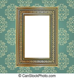 Golden empty frame on the wall for your art.