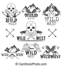 Vector set of wild west badges. Isolated emblems, labels, logos with skulls, revolvers, mountains and cowboy boots in vintage style