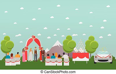 Wedding ceremony design vector banners. Outdoor party. Bride and groom celebrate their marriage