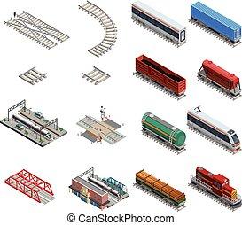 Train Station Elements Icons Set - Isometric icons set of...