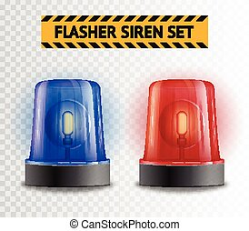 Flasher Siren Transparent Set - Two police flasher sirens...