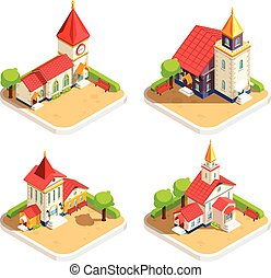 Church 4 Isometric Icons Set - Church historic religious...