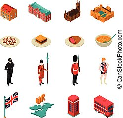 Great Britain Isometric Touristic Set - Colorful great...