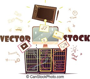 Microstock Vector Concept Retro Cartoon Illustration -...